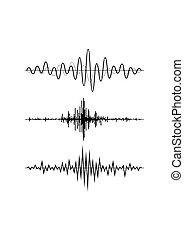 geluid, equalizer, set, technologie, musical., vrijstaand, pols, achtergrond., vector, muziek, illustratie, golven, witte , audio