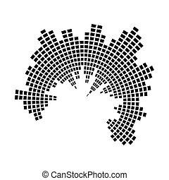 geluid, equalizer, symbool, golf, vector, muziek, cirkel, pictogram, design.