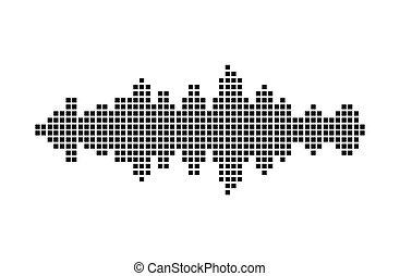 geluid, equalizer, symbool, golf, vector, muziek, pictogram, design.