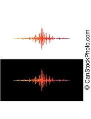 geluid, equalizer, technologie, kleurrijke, musical., vrijstaand, pols, achtergrond., vector, muziek, illustratie, golven, black , witte , audio