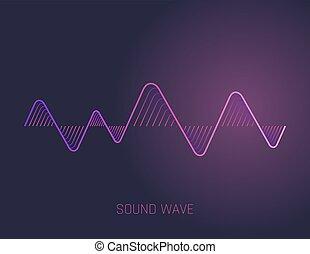 geluid, equalizer, technologie, musical., pols, vector, muziek, audio, waves., illustration.