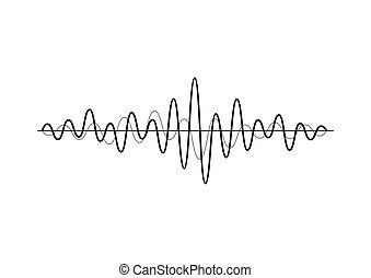 geluid, equalizer, technologie, musical., vrijstaand, pols, achtergrond., vector, muziek, illustratie, golven, black , witte , audio