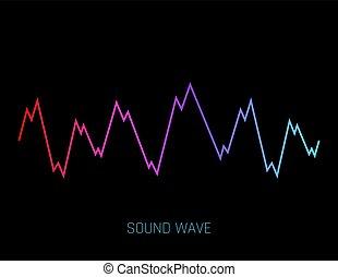 geluid, equalizer, technologie, musical., vrijstaand, pols, achtergrond., vector, muziek, illustratie, golven, witte , audio