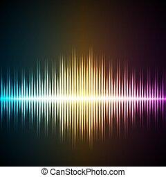 geluid, equalizer, wave., muziek