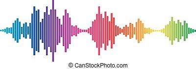 geluid, kleurrijke, golven