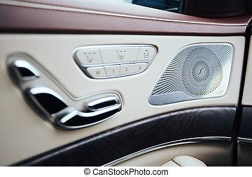 geluid, klimaat, sprekers, deur, auto, moderne, binnenkant., prestige, zetel, controle, interieur, auto., geheugen, hefboom, hi-end