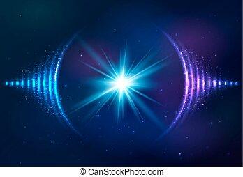 geluid, kosmisch, achtergrond, golven
