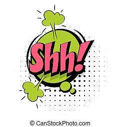 geluid, lettering, woord, knallen, effecte, shh, kunst, komisch