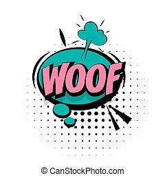 geluid, lettering, woord, knallen, woof, effecte, kunst, komisch