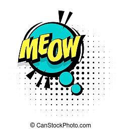 geluid, lettering, woord, meow, knallen, effecte, kunst, komisch