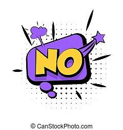 geluid, lettering, woord, nee, knallen, effecte, kunst, komisch