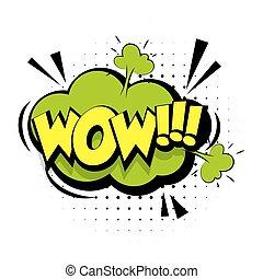 geluid, lettering, woord, wow, knallen, effecte, kunst, komisch