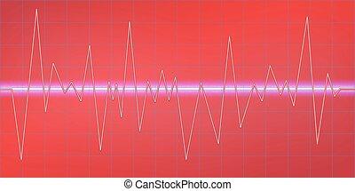 geluid, modulation., amplitude, neon, abstract, het ...