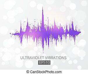 geluid, modulation., paarse , wave., analyzer, spectrum, ...