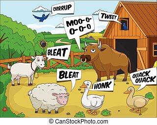 geluid, onderwijs, dieren, boerderij, besprekingen, spotprent