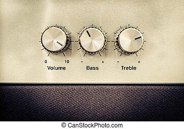 geluid, ouderwetse , stijl, controles, volume
