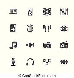 geluid, -, plat, vector, iconen