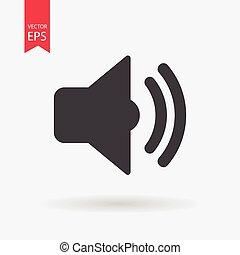 geluid, plat, vrijstaand, meldingsbord, achtergrond., vector, witte , design., pictogram