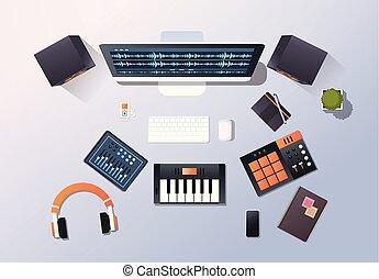 geluid, pro, concept, hoek, monitor, kantoor, bovenzijde, headphones, mixer, desktop, opname uitrustingsstuk, techniek, farceren, studio, muziek, horizontaal, audio, piano, aanzicht