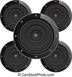 geluid, sprekers, black