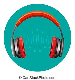 geluid, sprekers, moderne, headphones, golf, tussen, luid