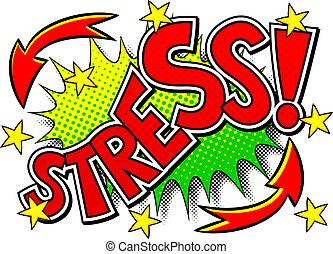 geluid, stress, komisch, effect