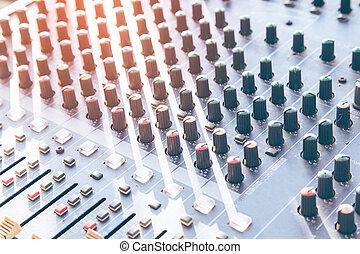 geluid, studio, opname, bureau, vermenging