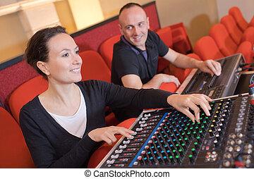 geluid, studio, werkende , producent, twee