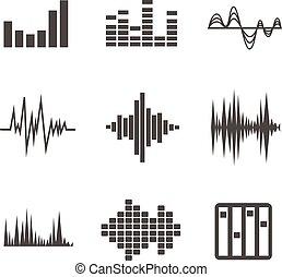 geluid, vector, set, golven