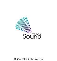 geluid, zakelijk, symbool, golf, ontwerp, vector., logo, muziek, audio, pictogram