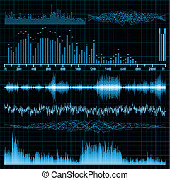 geluidsgolven, set., muziek, achtergrond., eps, 8