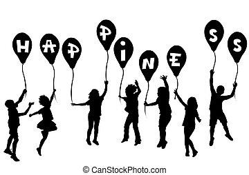 geluk, silhouettes, ballons, kinderen, vasthouden