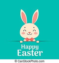 gelukkig glimlachen, easter., tekst, konijntje, boog, het ...