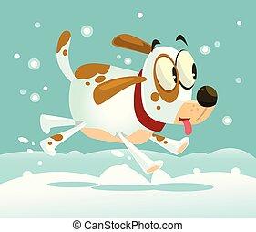 gelukkig glimlachen, vrijstaand, dog, mascotte, run., vector, spotprent, illustratie