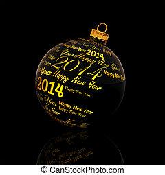 gelukkig nieuwjaar, 2014, geschreven, op, kerstmis bal, op, zwarte achtergrond