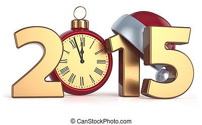 gelukkig nieuwjaar, 2015, wekker, kerstmis bal