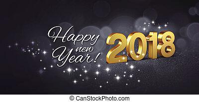 gelukkig nieuwjaar, 2018, begroetende kaart