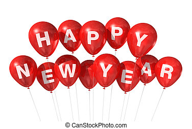 gelukkig nieuwjaar, ballons