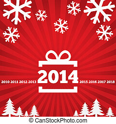gelukkig nieuwjaar, begroetende kaart, met, plat, icons.