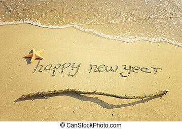 gelukkig nieuwjaar, boodschap, op het zand, strand