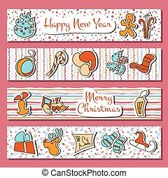 gelukkig nieuwjaar, en, kerstmistijd, set, in, strepen