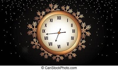 gelukkig nieuwjaar, gouden, animatie, horloge