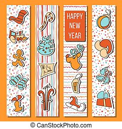 gelukkig nieuwjaar, set, in, stripes., oranje achtergrond