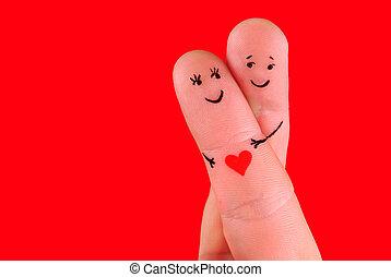 gelukkig paar, concept, -, een, man, en, een, vrouw, omhelzing, op, vingers, vrijstaand, op, rode achtergrond