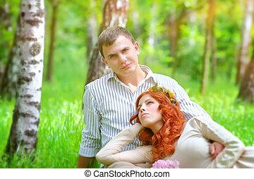 gelukkig paar, in, een, park