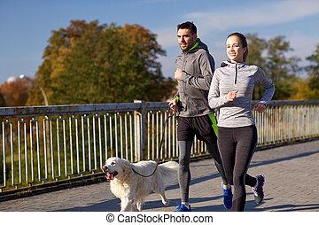gelukkig paar, met, dog, rennende , buitenshuis