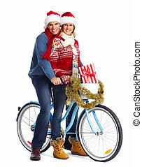 gelukkig paar, op, fiets, met, kerstmis, present.