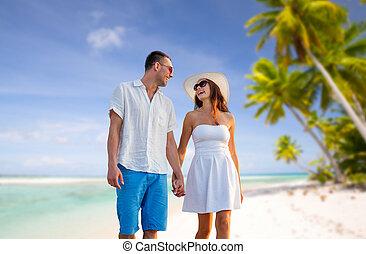 gelukkig paar, op vakantie, op, tropisch strand
