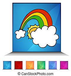 gelukkig, regenboog, glanzend, knoop, set