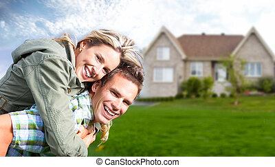 gelukkige familie, dichtbij, nieuw, house.